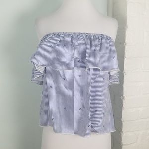 NWT Ocean Drive anchor off the shoulder blouse